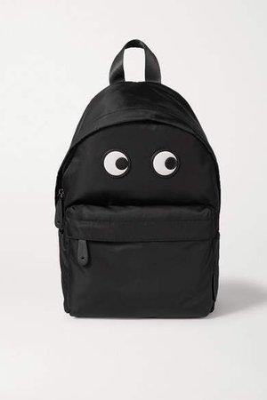Eyes Leather-trimmed Shell Backpack - Black