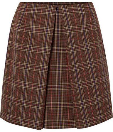 Pleated Checked Woven Mini Skirt - Brown