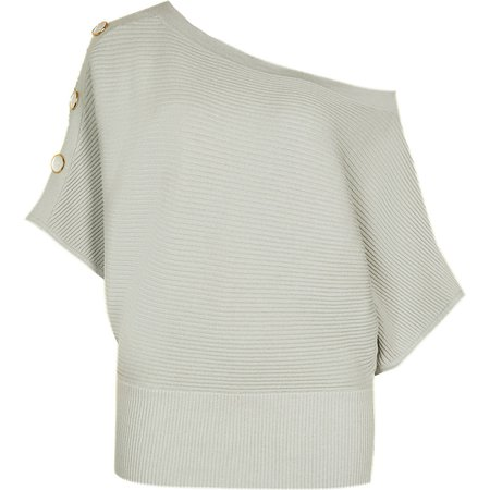Green ribbed knitted asymmetric jumper | River Island