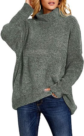 Ferbia Women Cowl Neck Sweaters Chunky Oversized Chenille Pullover Baggy Turtleneck Slouchy Batwing Sleeve Fall Jumper at Amazon Women's Clothing store