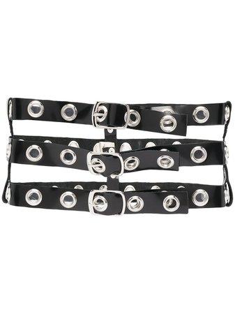 Manokhi eyelet-embellished leather belt