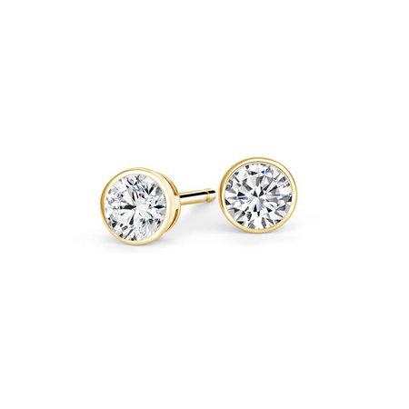 Bezel-Set Round Diamond Stud Earrings in 18K Yellow Gold