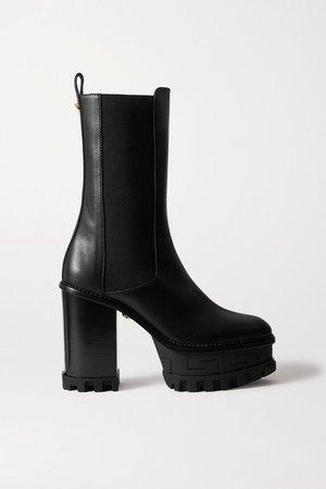 Embellished Leather Platform Chelsea Boots - Black