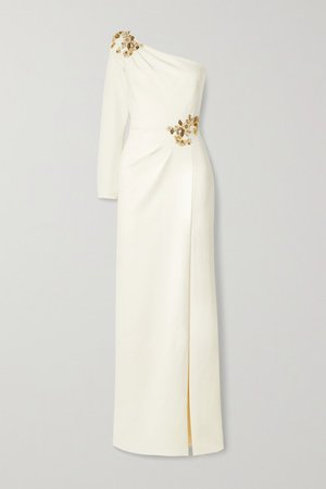 One-sleeve Embellished Crepe Gown - Ivory
