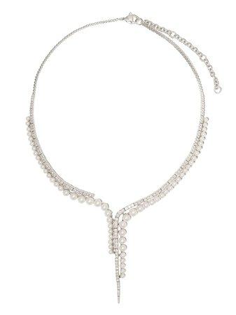 Yoko London 18kt White Gold Raindrop Akoya Pearl And Diamond Necklace - Farfetch