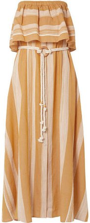 Derartu Strapless Striped Cotton-gauze Maxi Dress - Neutral