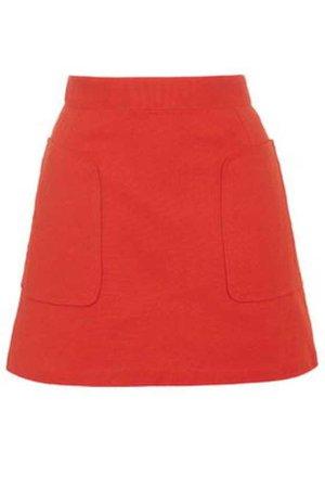 Stitch Pocket A-Line Skirt - Red