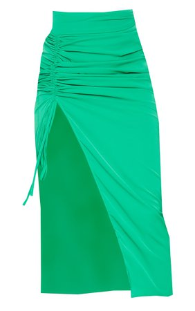 Bright Green Woven Ruched Sides Midi Skirt | PrettyLittleThing USA
