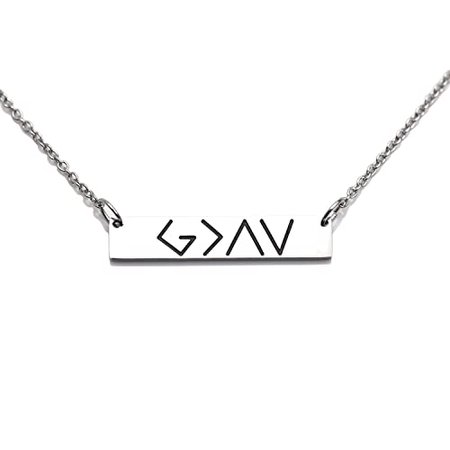 Amazon.com: LParkin God is Greater Than The Highs and Lows Bar Necklace (Necklace): Jewelry