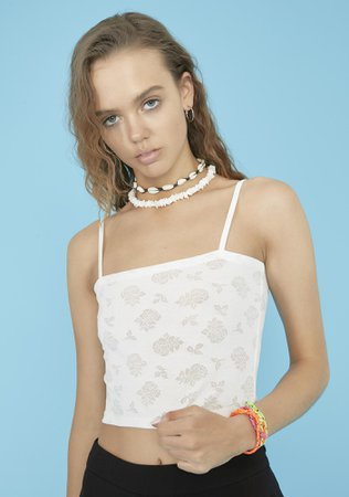 Delia's Rose Print Cropped Cami Top - White | Dolls Kill