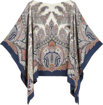 Etro Paisley Silk Poncho Blouse | Nordstrom