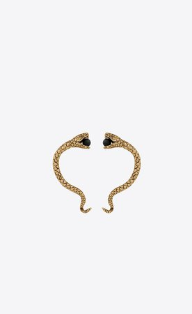 Saint Laurent Snake Ear Jewelry In Gold Metal And Black Glass Beads.  | YSL.com