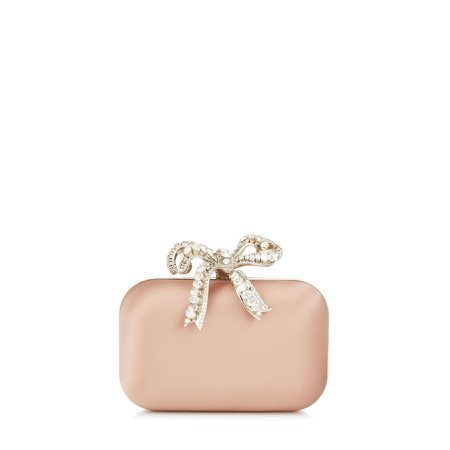 Ballet Pink Satin Clutch Bag with Crystal Bow Clasp | CLOUD | Cruise 19 | JIMMY CHOO