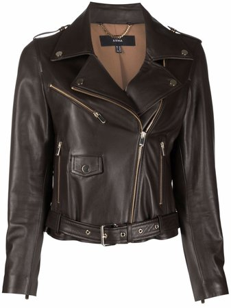 Arma belted leather biker jacket