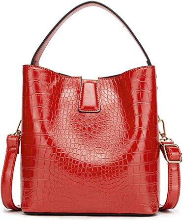 Women Convertible Bucket Shoulder Bag, Designer Casual Cross Body Hobo Bag Purse, Red: Shoes