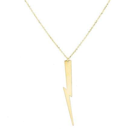 Gold Lightning Bolt Pendant Necklace | Adina's Jewels