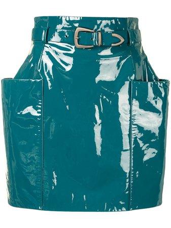 LAPOINTE slip-pocket Patent Mini Skirt - Farfetch