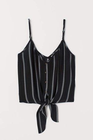 Tie-detail Camisole Top - Black