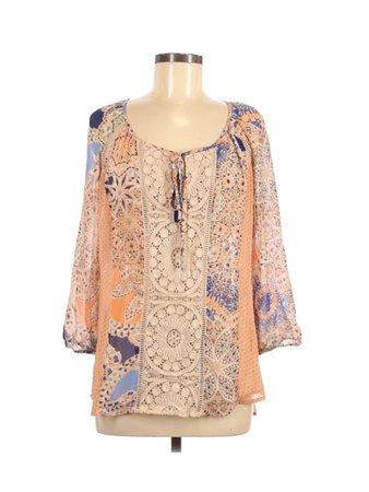 Meadow Rue Tan Orange Long Sleeve Blouse Size S - 20% off | thredUP