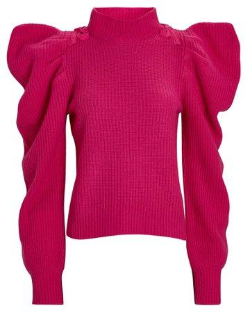 LoveShackFancy Potter Puff Sleeve Cashmere Sweater | INTERMIX®