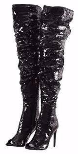 sequin black over knee boots - Pesquisa Google