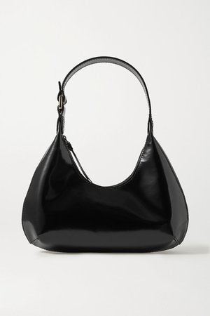 Amber Baby Glossed-leather Tote - Black