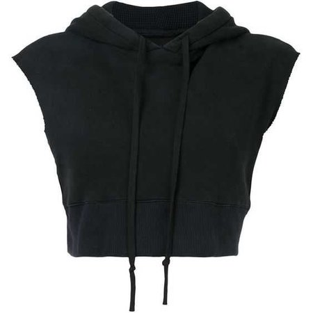 Black Crop-Top Sleeveless Hoodie
