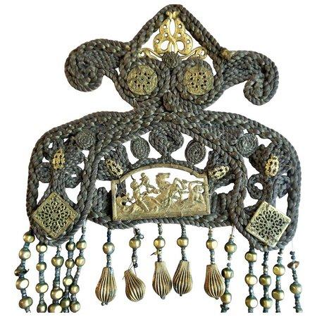 Ancient Antique Greek Roman Poseidon Gold Headpiece Face Veil Woven : Valzak's Antique Treasures   Ruby Lane