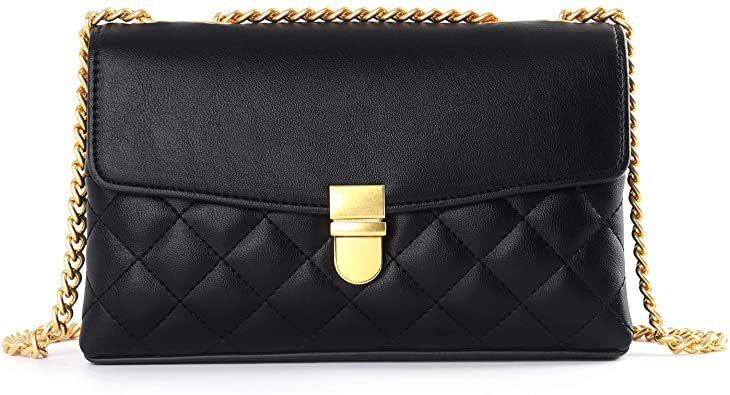 Crossbody Bags With Chain For Women Double Pocket Fashion Leather Handbag Shoulder Bag Quilted Designer Mini Bags: Handbags: Amazon.com