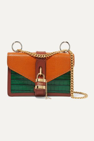 Orange Aby Chain paneled croc-effect and lizard-effect leather shoulder bag | Chloé | NET-A-PORTER