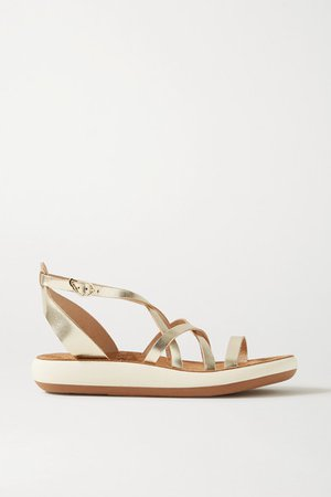 Delia Metallic Leather Sandals - Gold
