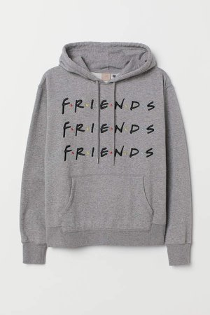 H&M+ Hooded Top with Motif - Gray