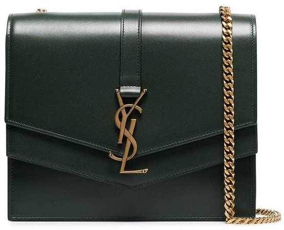 green montaigne monogram leather shoulder bag