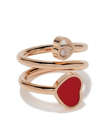 Shop Chopard 18kt rose gold Happy Hearts diamond and red stone ring with Express Delivery - Farfetch