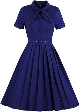 Amazon.com: Wellwits - Pleated Neck Bow Business Women's Dress: Clothing