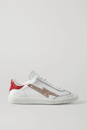 Bryce Distressed Metallic-trimmed Snake-effect And Smooth Leather Sneakers - White