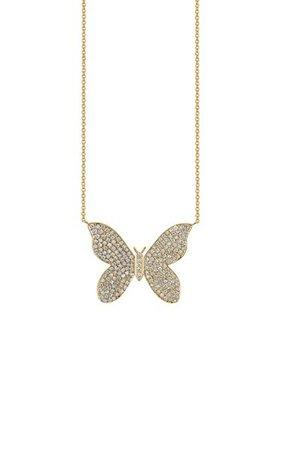 14k Yellow Gold Large Pave Butterfly Necklace By Sydney Evan | Moda Operandi