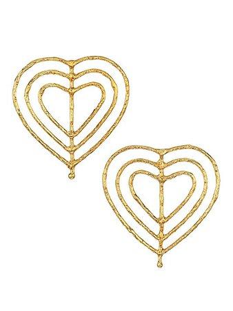 Sylvia Toledano Valentine Goldtone Heart Cutout Earrings   SaksFifthAvenue