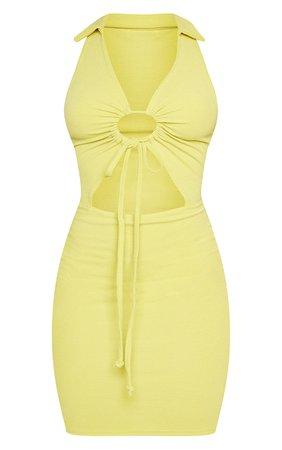 Chartreuse Rib Sleeveless Collar Bodycon Dress   PrettyLittleThing USA