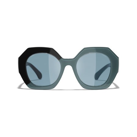 Round Sunglasses Black & Green Round Sunglasses | CHANEL
