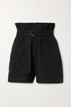 Belted Cotton-canvas Shorts - Beige