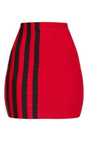 Red Stripe Panel Mini Skirt | Skirts | PrettyLittleThing