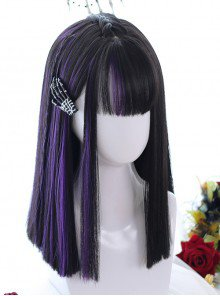purple and black wig