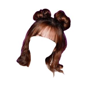 Short Brown Hair Bangs Space Buns PNG