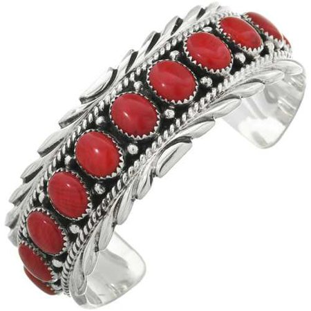 Native American Red Coral Silver Cuff 10960