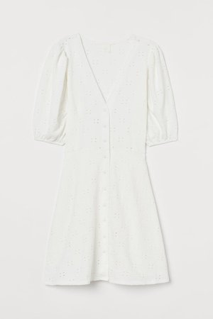 Puff-sleeved Cotton Dress - White