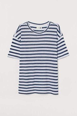 Linen-blend T-shirt - Blue