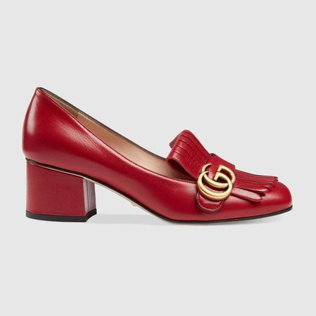 GUCCI Leather mid-heel pump - hibiscus red leather.