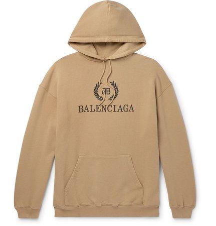 Balenciaga - Oversized Logo-Print Loopback Cotton-Jersey Hoodie - Men - Neutrals