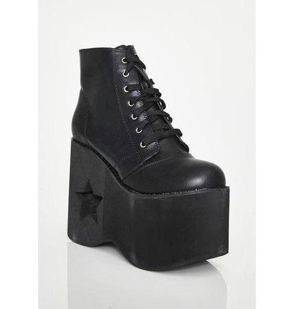 Star Moon Platform Boots Black | Dolls Kill